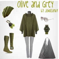 """Olive and Grey"" by jowilson69 on Polyvore"