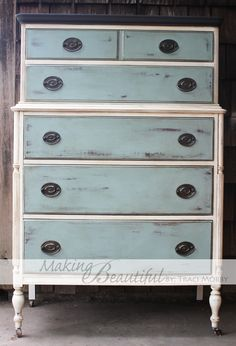 Duck egg, old white and graphite top in Annie Sloan paint| Making.Beautiful.Blog