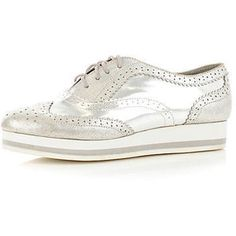 River Island silver lace up Oxfords