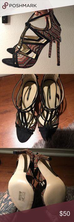 92a84d94aad0bc Zara Black Orange Creme Strap Sandal Size 39. Never worn