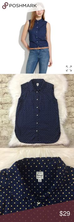 """Madewell Slevless Hazzy Dot Shirt Slevless button down shirt with cute yellow polka dot and one patch pocket  • in good preowned condition 100% cotton• approximate measurements laying flat bust 16.75"""", length 24.5"""" Madewell Tops Button Down Shirts"""