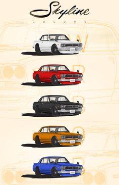 Nissan Skyline GT-R Hakosuka High Detailed Illustration on Behance Nissan Skyline 2000, Skyline Gtr, Car Prints, National Car, Vw Vintage, Car Illustration, Japan Cars, Automotive Art, Jdm Cars