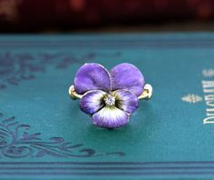 Antique Victorian Enamel Pansy Ring 14k & by TheEdenCollective, $1250.00
