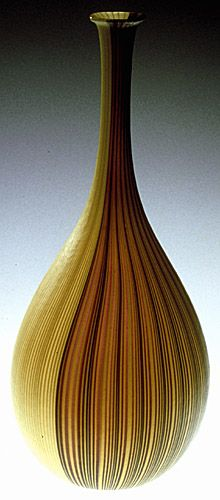 Carlo Scarpa, Tessuto vase  1950-1970 Blown glass 33.3cm (h), 14cm (d) Liliane and David M. Stewart Collection D88.109.1 (via The Montreal Museum of Fine Arts)