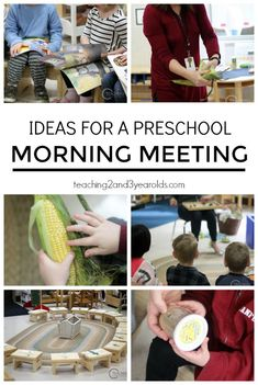 These morning meeting ideas work well in a preschool classroom - it gives the children a chance to say good morning to each other and learn what they will be doing that day. I wish I had thought of this for our classroom years ago! From Teaching 2 and 3 Year Olds