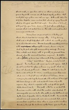 ORIGINAL MANUSCRIPT PAGE FROM THE 14TH CHAPTER OF THE HOUND OF THE BASKERVILLES BY ARTHUR CONAN DOYLE -- THIS. IS. AMAZING.