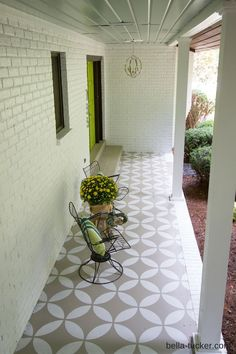 geometric stencils add bold style to a concrete porch stencil
