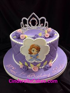 Sofia the first cake Sofia The First Birthday Cake, 1st Birthday Cakes, Barbie Birthday, Princess Sofia Cake, Princess Sofia Birthday, Bolo Sofia, One Tier Cake, Party Cakes, Creations
