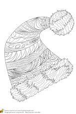 Coloriage pour un hiver zen, un bonnet avec pompon