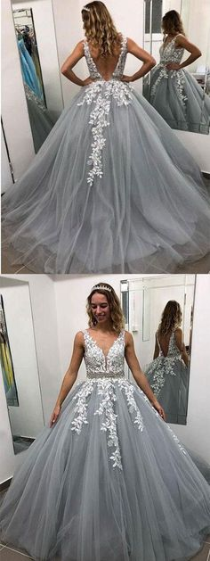 Buy Ball Gown Gray V Neck Prom Dresses with Lace Appliques, Quinceanera Dresses on sale.Shop prom or formal dresses from Promdress. Find all of the latest styles and brands in Junior's prom and formal dresses at Kikiprom V Neck Prom Dresses, Grad Dresses, Wedding Party Dresses, Dance Dresses, Homecoming Dresses, Cute Dresses, Formal Dresses, Pink Dress, Lace Dress