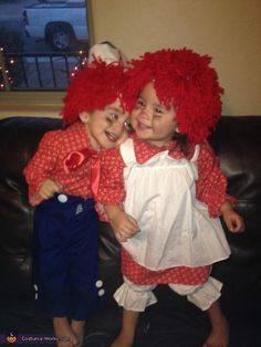 Raggedy Ann and Andy - 2013 Halloween Costume Contest My sister and I did this when we were little. My mom dyed mops for the wigs. Hey, it was the 60's.