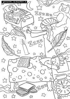 OPTIMIMMI | A free coloring page of the night and dreams / Ilmainen värityskuva yöstä ja unista