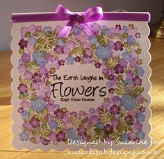 The card is stamped using Versa Colour ink pads in colours Bamboo, Ash Rose, Sky Blue, Grape and Heliotrope Cardio Cards, Craftwork Cards, Beautiful Handmade Cards, Card Io, Get Well Cards, Card Making Inspiration, Card Sketches, Flower Cards, Cardmaking