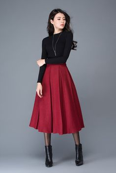 Wine red wool skirt/maxi skirt/winter women's skirt/ par YL1dress