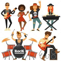 Buy Rock Music Band Singer by Sonulkaster on GraphicRiver. Rock music band of woman singer, bass guitarist, drummer man or percussion and sound synthesizer player at stage. Drums Logo, Music People, Music Icon, Music Bands, Rock Music, Rock Bands, Bass, Character Design, Singer