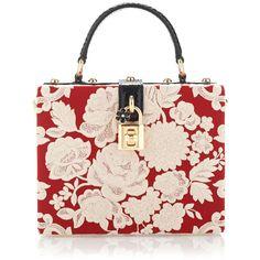 Dolce & Gabbana Rosso And Ecru Embroidered Cady Box Bag featuring polyvore fashion bags handbags flower purse rose purse python handbag dolce gabbana handbag metallic handbags