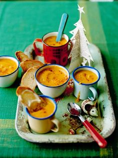 Rudolph's rocket fuel - A soup by Jamie Oliver made from carrots, parsnip, potato, leek, onion, apple, garlic, and paprika.