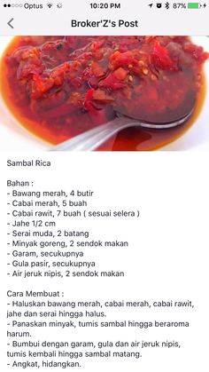 Sambal rica Indonesian Sambal Recipe, Indonesian Cuisine, Indian Food Recipes, Asian Recipes, Healthy Recipes, Cooking Ingredients, Cooking Recipes, Sambal Sauce, Spicy Dishes