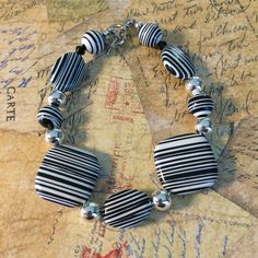 White and Black Stripes with Silver Accents  Beaded by DungleBees, $24.99