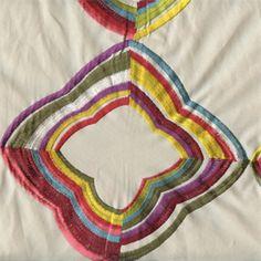 16302 Daydream Primary Multi Color Embroidered Diamond Design Cotton Drapery Fabric - 57243