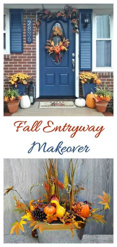 This fall entryway makeover transitions from Fall through Halloween and on to Thanksgiving with just a few changes. Decorate an entryway for fall. #LowesFallDecor #IC #ad Shop the look here: https://cur.lt/2yeE1fo
