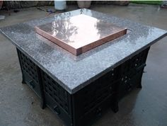 We custom make copper lid inserts for fire pit tables Fire Pit With Lid, Copper Fire Pit, Large Fire Pit, Concrete Fire Pits, Outdoor Fire Pit Table, Fire Table, Patio Table, Fire Pit Table Cover, Square Fire Pit