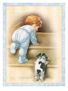 Illustration by Bessie Pease Gutmann Puppy Images, Foto Baby, Baby Cards, Vintage Pictures, Vintage Cards, Vintage Signs, Vintage Postcards, Vintage Children, Vintage Prints