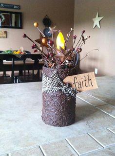 Prim look candle decoration. Primitive Country Crafts, Primitive Candles, Rustic Crafts, Primitive Christmas, Christmas Crafts, Primitive Decor, Tin Can Crafts, Farm Crafts, Decor Crafts