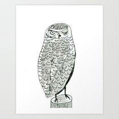 Burrowing Owl Art Print by Elizabeth Graeber - $20.00
