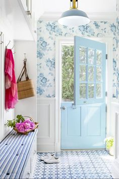 Design by Brooke Crew. Mud room in a blue on blue house with a Dutch door and cement tiles on floor. Villa Del Carbon, Interior Exterior, Interior Design, Dutch Door Interior, Interior Livingroom, Design Industrial, Painted Doors, My Living Room, Mudroom
