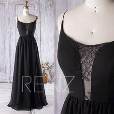 2017 Lace Neck Bridesmaid Dress Backless, Black Evening Gown, A Line Chiffon Wedding Dress, Party dress, Spaghetti Straps Prom Dress (J073)