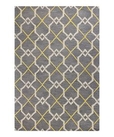 Gray Geometric Wool Rug