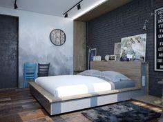спальня лофт в серо-бирюзовая - Поиск в Google
