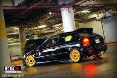Black Civic EK + Orange BBS RS = Awesome