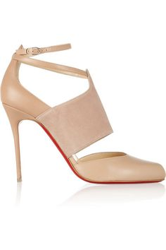 CHRISTIAN LOUBOUTIN Trotter 100 leather and suede pumps