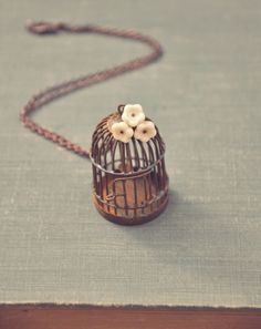 whimsical bird cage necklace....
