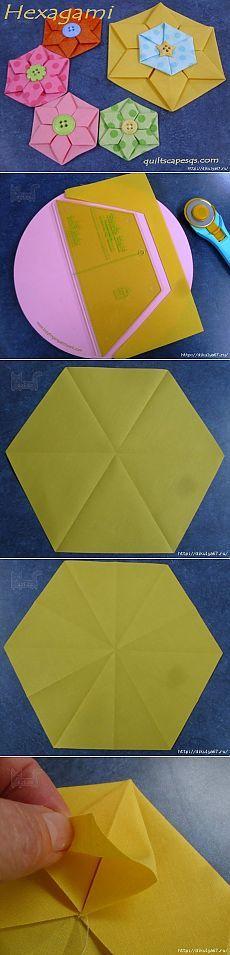Цветок-оригами шестигранник из ткани. МК