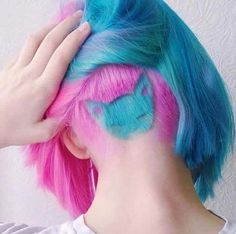 Short Hairstyles for Women: Pastel Bob With a Cat Hair Tattoo