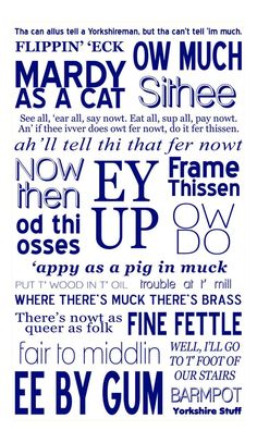 Yorkshire dialect tea towel, Ey Up, Sithee, Ow Much etc. Yorkshire Phrases, Yorkshire Slang, Yorkshire Sayings, Yorkshire Day, Yorkshire England, North Yorkshire, Welsh Sayings, Good Night Love Quotes, Kingston Upon Hull
