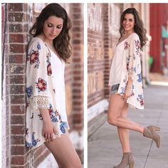 Floral Lace Kimono.  100% Rayon. Looks great with skinny jeans, shorts or with a sleeveless dress. Find this and more in my Boutique on Poshmark!!