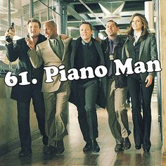 """Castle, Montgomery, Ryan, Esposito, and Beckett singing """"Piano Man"""" on their way to The Old Haunt to have drinks in the 'Last Call' episode of Castle."""