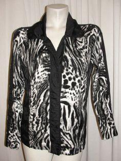 ZENERGY by CHICOS Black Gray White Animal Print Nylon Cotton Knit Jacket Sz 1 M #Chicos #KnitTop #Casual