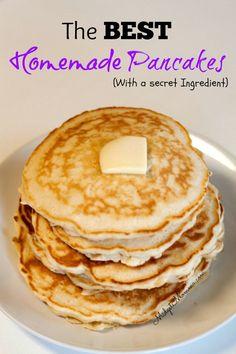 This awesome Homemade Pancake Mix Breakfast Recipe has a secret ingredient that makes this homemade pancake mix recipe amazing. You can make these for breakfast, freeze them or you can make them for d (Pancake Mix) Pancake Recipe Without Eggs, Easy Pancake Recipe No Sugar, Salty Pancakes Recipe, Breakfast Dishes, Breakfast Recipes, Best Homemade Pancakes, Homemade Pancake Recipes, Homemade Breakfast, Vanilla Pancakes