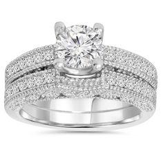 14k Gold 1 1/10 ct TDW Vintage Pave Diamond Matching Wedding Ring Set