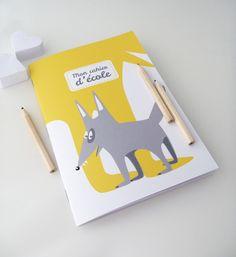 Cahier d'école 14x20cm illustré d'un petit loup gris