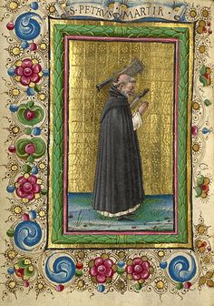 Gualenghi-d'Este Hours  Saint Peter Martyr        Taddeo Crivelli  Italian, Ferrara, about 1469  Tempera colors, gold leaf, silver leaf, and ink on parchment    4 1/4 x 3 1/8 in.  MS. LUDWIG IX 13, FOL. 192V