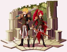 Jaune and Pyrrha from rwby