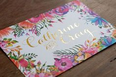 Colourful floral invitation with gold foil lettering