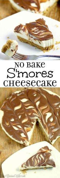 Easy No Bake Smores Cheesecake recipe - a quick and easy no bake smores dessert recipe that can be made from scratch in just 10 minutes! Smores Dessert, Smores Cheesecake Recipe, Brownie Desserts, No Bake Desserts, Cheesecake Desserts, Cheesecake Bites, Healthy Desserts, Cheesecake Facil, Smores Recipe