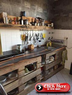 Euro pallets as a DIY kitchen idea.- Europaletten als DIY Küchen-Idee. Euro pallets as a DIY kitchen idea. Wooden Kitchen, Diy Kitchen, Kitchen Decor, Kitchen Design, Kitchen Cart, Diy Pallet Furniture, Kitchen Furniture, Palette Deco, Pallet Designs